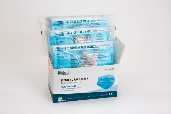 Box of 50 type IIR medical face masks in packs of 10