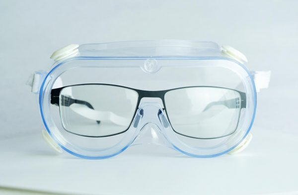 Anti fog protective goggles front view with glasses