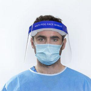 Surgeon wearing anti fog Face Shield frontside