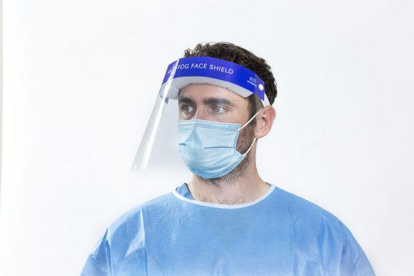 Surgeon wearing anti fog Face Shield looking left