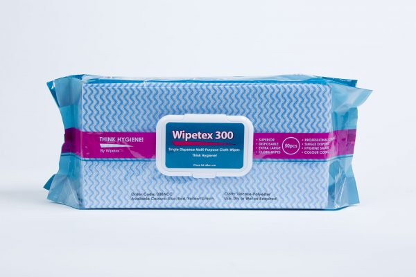 Pack of Wipetex 300ACC Wipes blue
