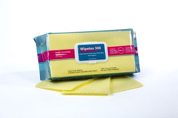 Pack of Wipetex 300ACC Wipes yellow