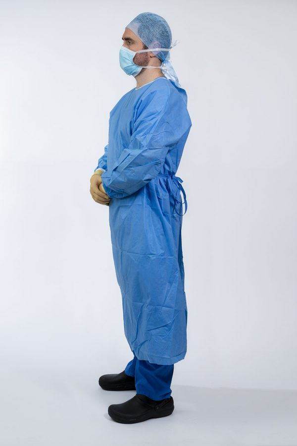 Surgeon wearing Isol8 Sterile Gown looking left