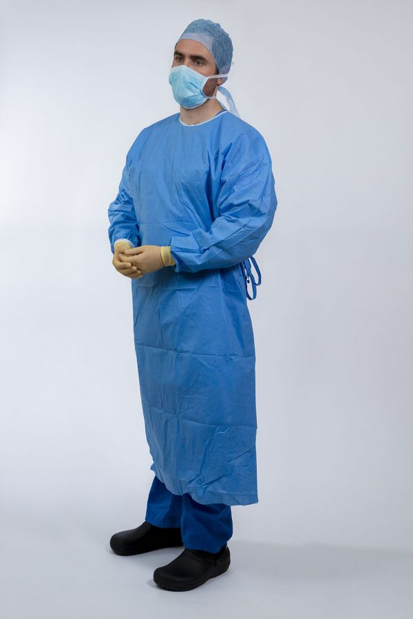 Surgeon wearing Isol8 Sterile Gown with hands folded